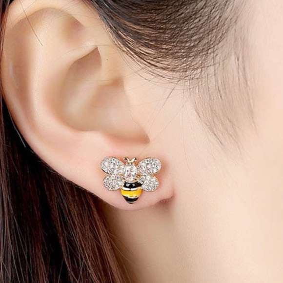 020c6ef295ce5 🐝SALE✨ CZ Gold Honey Bee Diamond Stud Earrings🐝